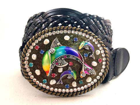 Mosaic Multi Colored Dolphin Buckle