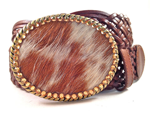Cowhide Brown and White with Gold Crystals