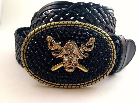 Pirate Buckle with Black Crystals