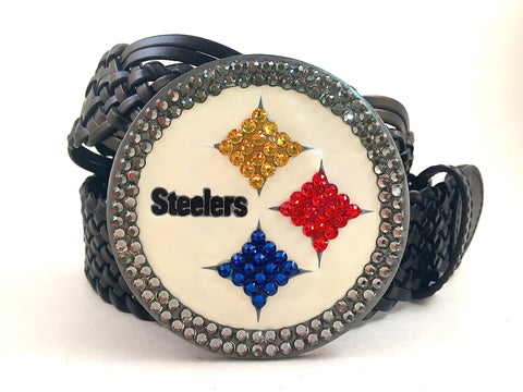 Pittsburg Steelers Swarovski Crystal Buckle and Belt