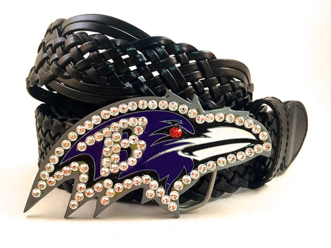 Baltimore Ravens Swarovski Crystal Buckle and Belt