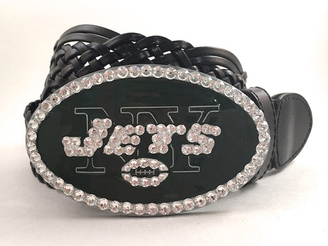 New York Jets Swarovski Crystal Buckle and Belt