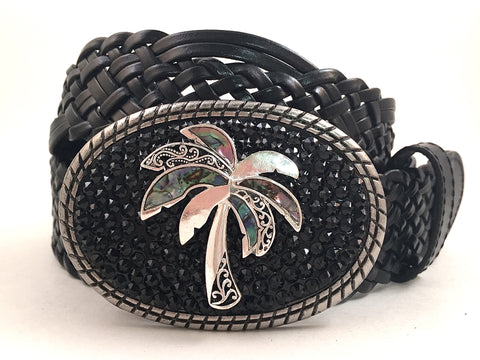 Abalone Palm Tree Buckle with Black Crystals