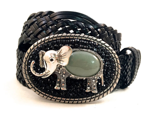 Elephant Buckle with Black Crystals