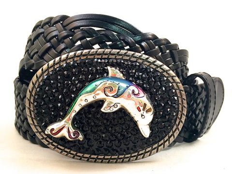 Dolphin Buckle with Black Crystals