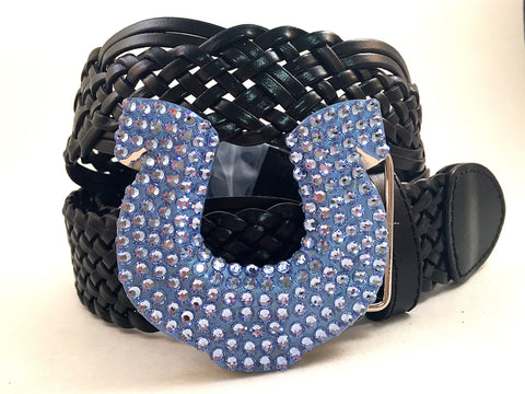 Horseshoe Belt Buckle Blue Crystals