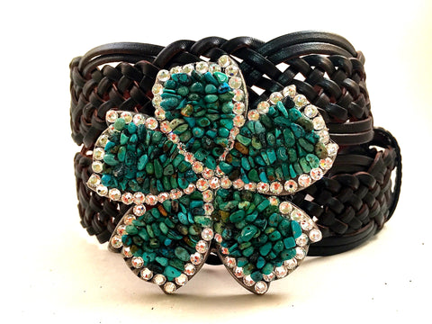 5 Petal Flower with Crystals and Turquoise Stones