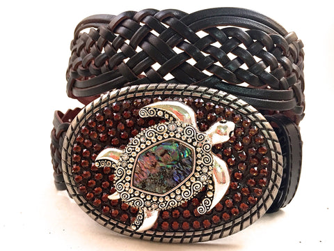 Abalone Turtle Buckle with Brown Crystals