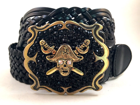 Pirate Square Buckle with Black Crystals