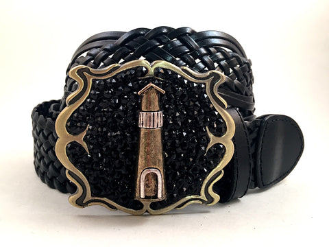 Light House Square Buckle with Black Crystals