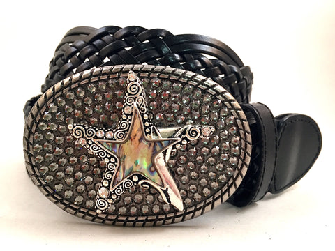 Abalone Starfish Buckle with Gray Crystals
