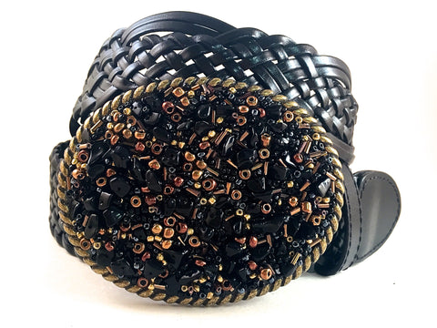Beaded Buckle Brown, Black and Gold - Medium