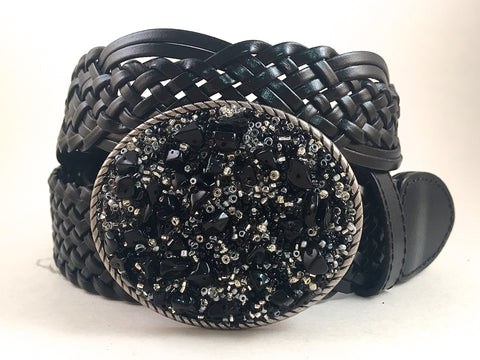 Beaded Buckle Black, Silver and Gray-Small