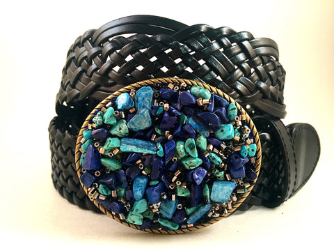 Beaded Buckle Multi Colored Blue-Small