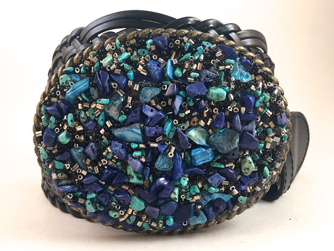 Beaded Multi Colored Blue Buckle - Large