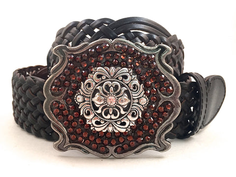 Square Silver Buckle with Brown Crystals and Silver Medallion