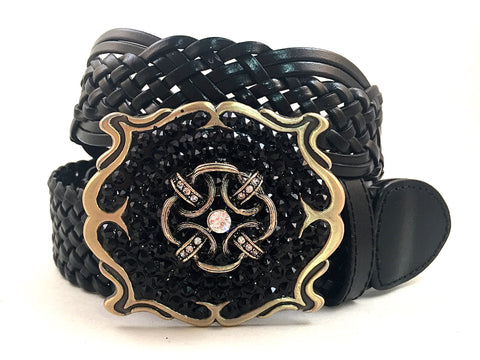 Square Gold Buckle Accented with Black Crystals