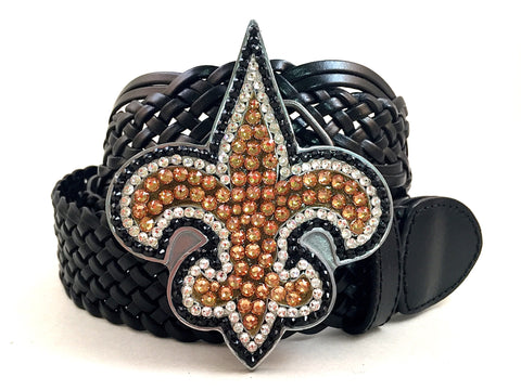New Orleans Saints Swarovski Crystal Buckle and Belt