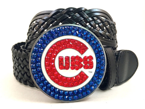 Chicago Cubs Swarovski Crystal Buckle and Belt
