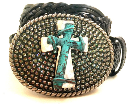 Oval Buckle with Turquoise and Silver Cross and Gray Crystals