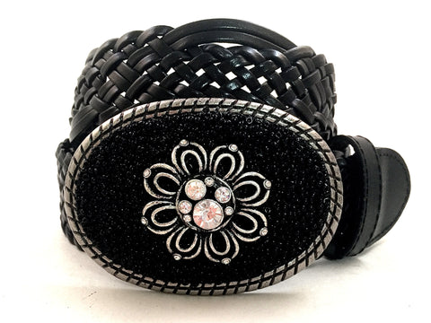 Beaded Black Buckle with Flower