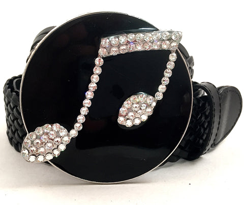 Musical Note Buckle with Clear Crystals