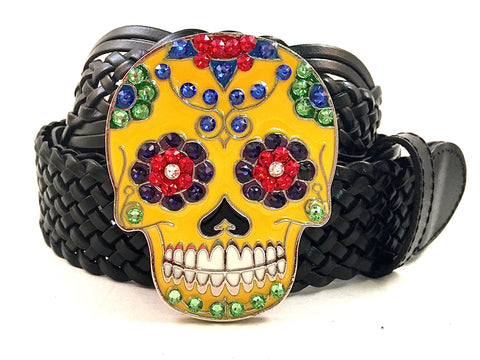 Sugar Skull Buckle Multi Colored