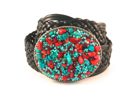 C-Turquoise and Coral Beaded Buckle - Small