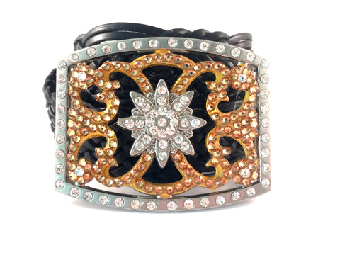 C-Rectangle Large with Light Colorado Swarovski Crystals