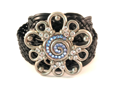 C-Western Flower Light Sapphire Swarovski Crystals and CZ's