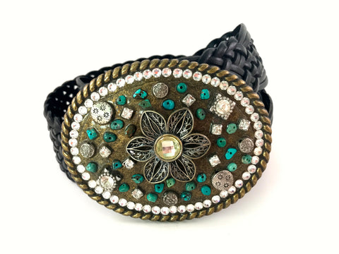 C-Mosaic Flower Buckle with Turquoise