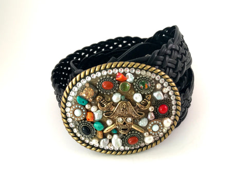 C-Mosaic Pirate Buckle with Treasures and Clear Swarovski Crystals
