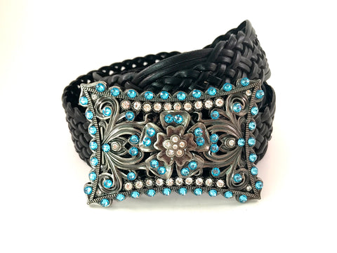 C-Rectangle Buckle Accented with Aquamarine Swarovski Crystals