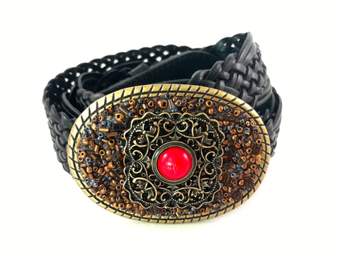 C-Beaded Brown and Gold Tone Buckle with Red Accents