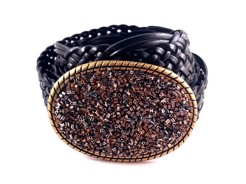 C-Brown, Slate Gray and Gold Beaded Buckle