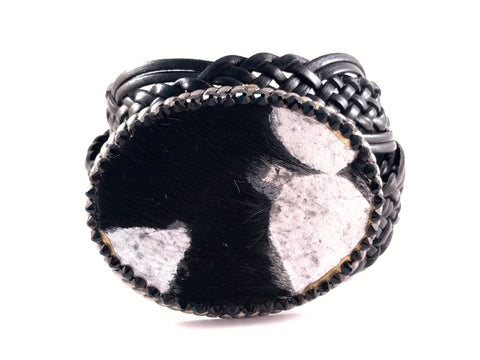 C-Cowhide Black with Acid Washed Outlined in Jet Swarovski Crystals