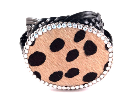 C-Cowhide Speck Beige and Black outlined with Clear Swarovski Crystals