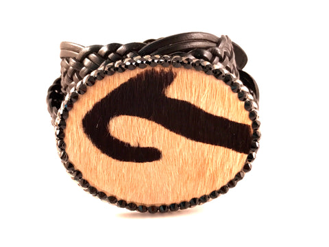 C-Cowhide Beige with Black Design Outlined with Jet Swarovski Crystals