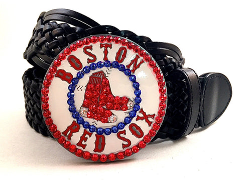 Boston Red Sox Swarovski Crystal Buckle and Belt
