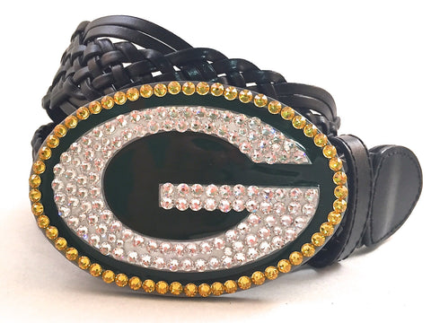 Green Bay Packers Swarovski Crystal Buckle and Belt