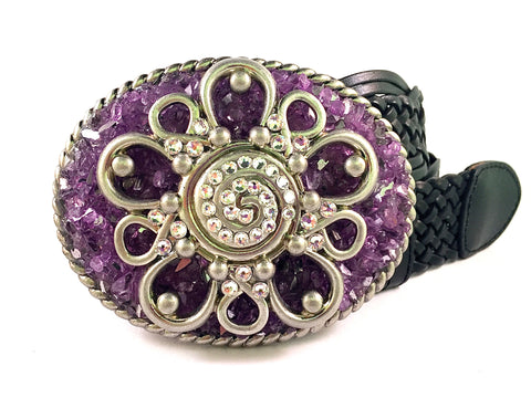 Western Crystal Flower with Purple Metallic Glass