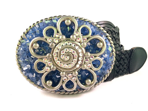 Western Crystal Flower with Denim Blue Metallic Glass