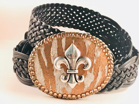 C-Fleur De Lis on Metallic Hide with Gold Crystals