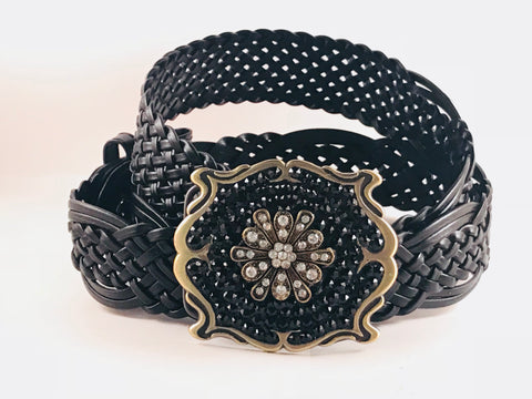 C-Square Gold Buckle with Jet Black Crystals and a Gold medallion