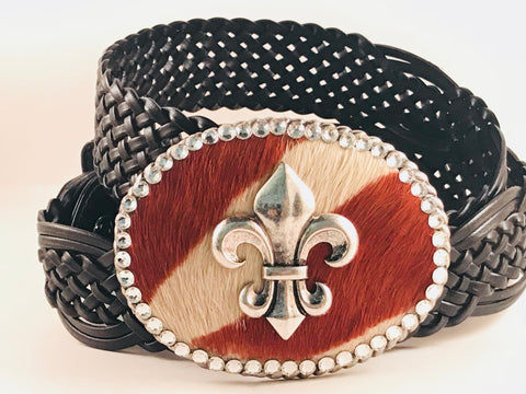 C-Fleur De Lis on Brown/Cream Hide with Crystals