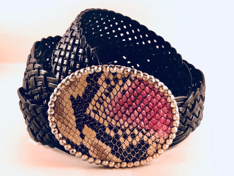 C- Leather Faux Snake Skin with Clear Crystals