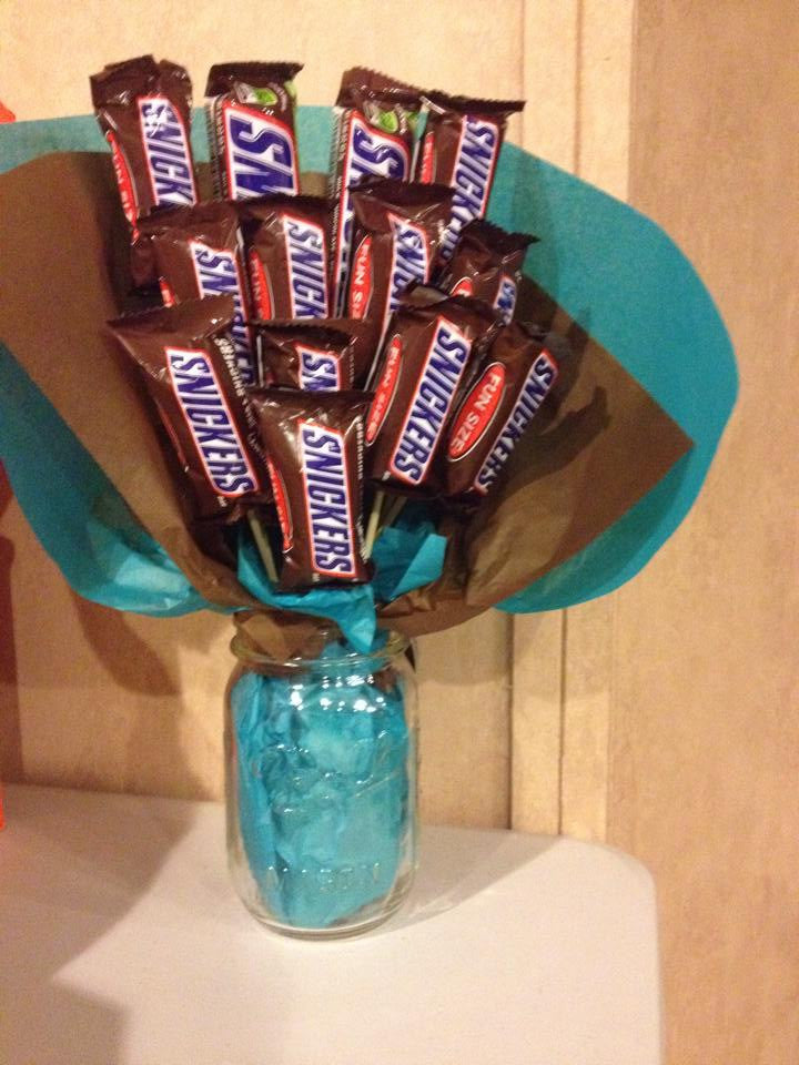 Snicker's Candy Bouquet in Mason Jar