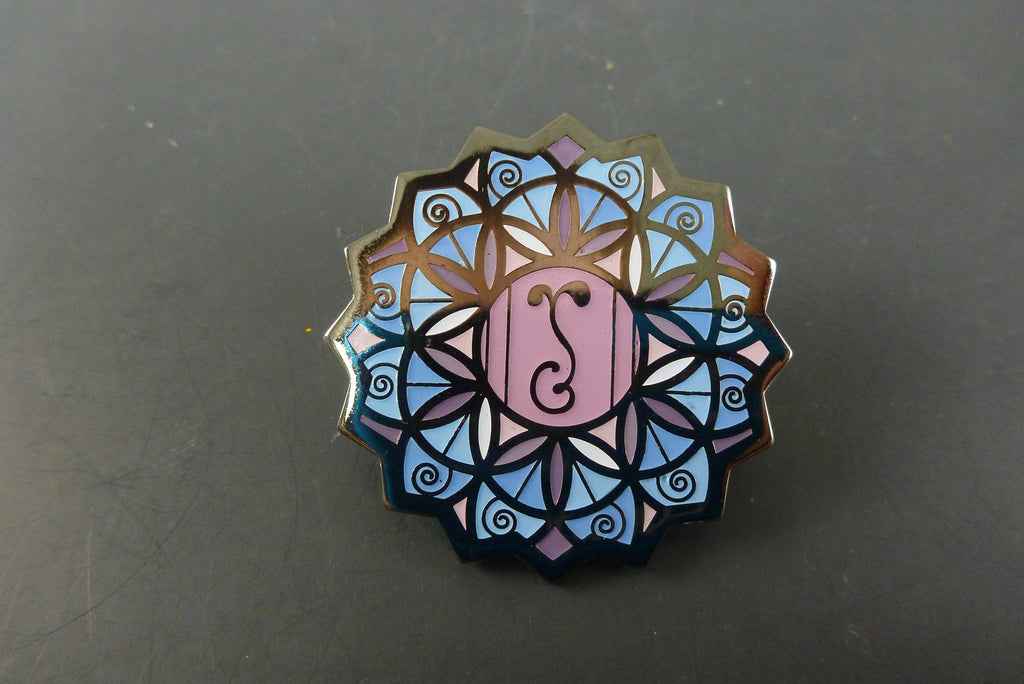 Purple flower of life pin