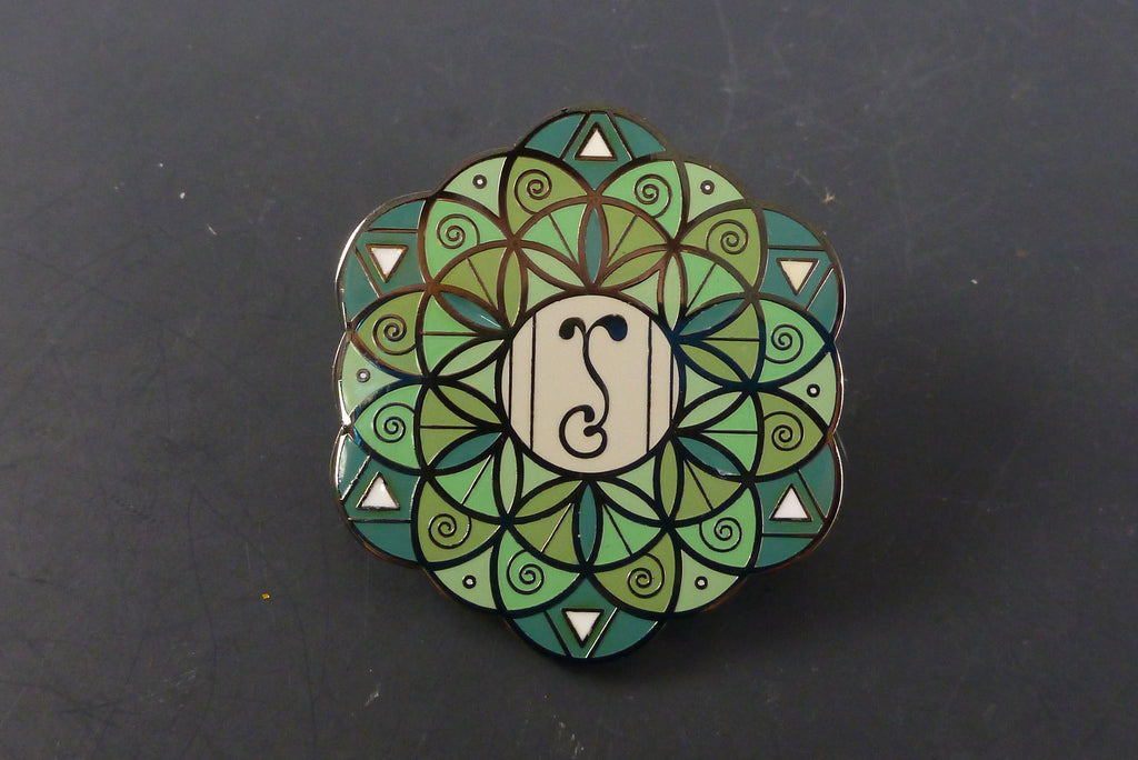 Green flower of life pin - Headdy Glass