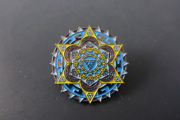 Yellow aztec diamond pin - Headdy Glass